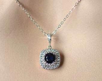 Choose Your Colour -- Handmade Cubic Zirconia CZ Pendant Bridal Necklace, Bridal, Wedding (Sparkle-2094)