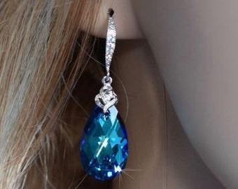 Handmade Swarovski Crystal Bermuda Blue Pear Dangle Earrings (Sparkle-1919)
