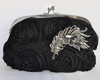 Evening Style Clutch Bag, Black Rosettes Silvertone Frame Evening Clutch Bag, Bridal, Wedding (Sparkle-487)
