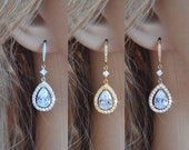 White Yellow or Rose Gold Clear Pear Cut Halo Cubic Zirconia CZ Dangle Teardrop Bridal Earrings, Necklace, Set, Wedding (Sparkle-3000)