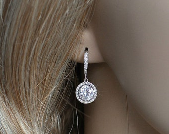 Handmade Micro Pave Cubic Zirconia CZ Dangle Bridal Earrings, Bridal, Wedding (Sparkle-2240)