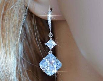 Rhodium or Rose Gold Handmade Square Radiant & Princess Cut Cubic Zirconia Dangle Earrings, Bridal, Wedding (Sparkle-2769)