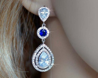 Handmade Luxe Clear and Sapphire Blue Something Blue Cubic Zirconia CZ Chandelier Dangle Bridal Earrings, Bridal, Wedding (Sparkle-2088)