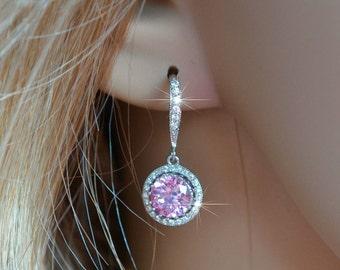 Handmade Micro Pave Light Pink Cubic Zirconia CZ Dangle Bridal Earrings, Bridal, Wedding (Sparkle-2614)