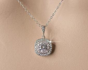 White or Rose Goldplate Handmade Cubic Zirconia CZ Pendant Bridal Necklace, Wedding (Sparkle-2091)
