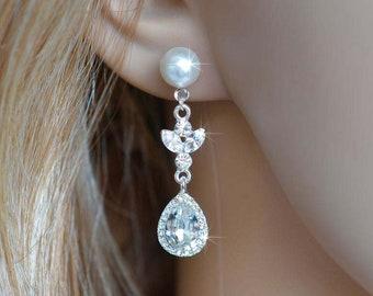 Handmade Vintage Inspired Fancy Cut Crystal Rhinestone and Pearl Dangle Earrings, Bridal, Weddings (Sparkle-1550-P)