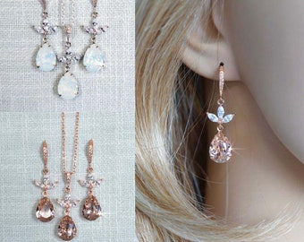 Choose Your Colour -- Rhodium, Yellow or Rose Gold Bridal Necklace & Dangle Earrings Set, Blush, White Opal Bridal, Wedding (Sparkle-2878)