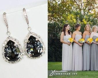 Handmade Swarovski Silver Night Pear Crystal Dangle Earrings (Sparkle-2603)