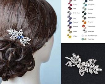 Choose Your Accent Colour -- Vintage Inspired Crystal Rhinestone Leaf Hair Bobby Pin Hair Clip, Wedding, Bridal (Sparkle-2824)