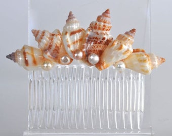 Handmade Polished Seashell & Freshwater Pearl Comb, Destination or Beach Wedding, Bridal (Pearl-407)