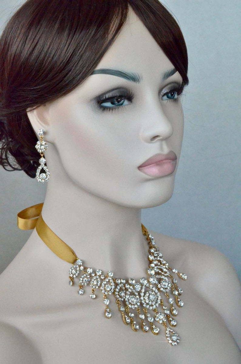 Dramatic Vintage Inspired Clear Crystal Rhinestone in Yellow Gold Bridal Necklace and Earring Set Wedding Sparkle-3141