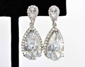 Gorgeous Handmade Clip-On Cubic Zirconia CZ Teardrop Dangle Bridal Earrings, Bridal, Wedding (Sparkle-2419)