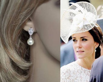 Rhodium, Rose or Yellow Gold-- Handmade Kate Middleton Celebrity Inspired Cubic Zirconia & Pearl Bridal Earrings, Wedding (Pearl-343)