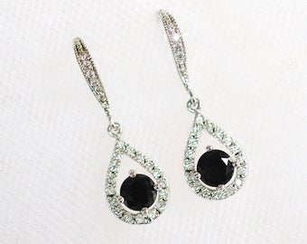 Delicate Handmade Jet Black & Clear Cubic Zirconia CZ Teardrop Dangle Bridal Earrings, Bridal, Wedding (Sparkle-2323)