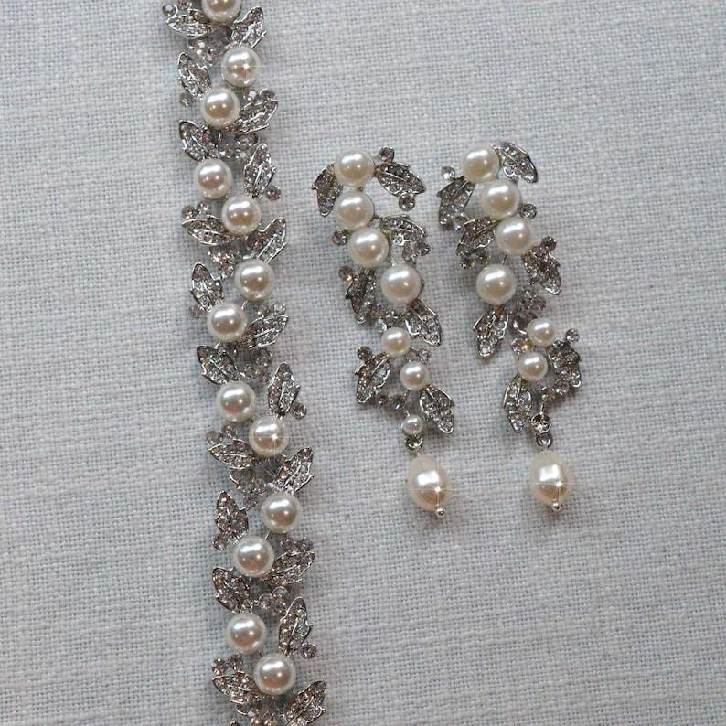 Vintage Inspired Pearl and Crystal Rhinestone Vine Leaf Earrings and Bracelet Set Pearl-825 Bridal Wedding