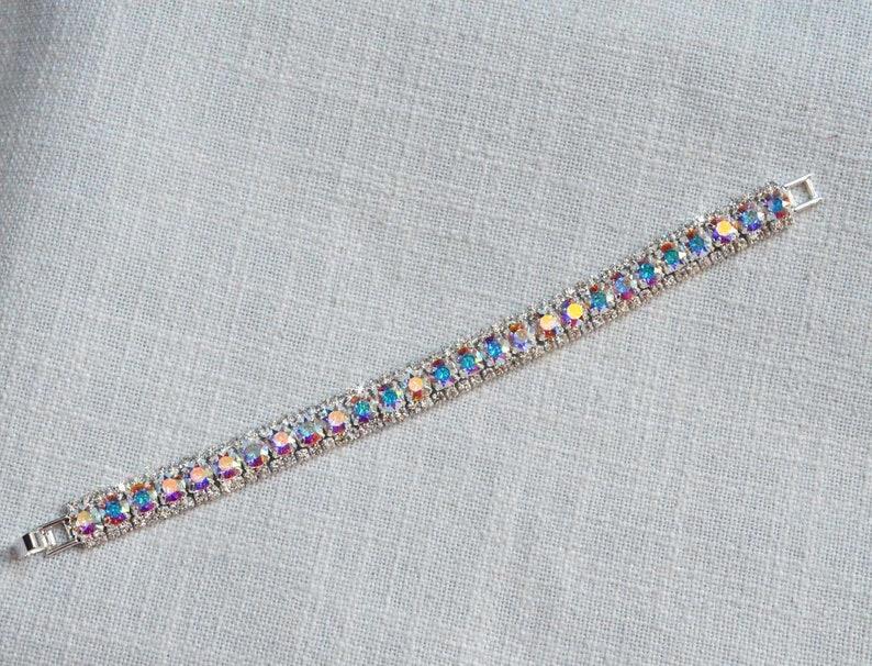 Sparkle-3050 Handmade Long Aurora Borealis AB Cubic Zirconia CZ Teardrop Dangle Bridal Earrings Aurora Borealis Bracelet Wedding Bridal