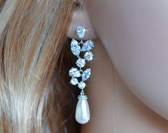 Handmade Fancy Cut Cubic Zirconia and Teardrop Pearl Chandelier Dangle Earrings, Bridal, Wedding (Pearl-808)