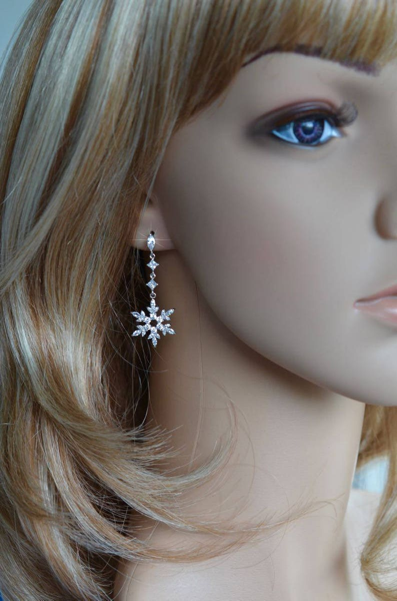 Bridal Set White Gold or Rose Gold Handmade Fancy Cut Clear Cubic Zirconia CZ Snowflake Dangle Earrings Necklace Sparkle-2737 Wedding