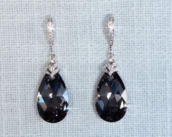 Handmade Swarovski Crystal Silver Night Pear Dangle Earrings (Sparkle-2692)