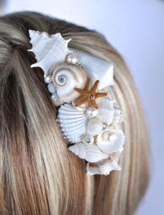 OOAK coquillage à la main, Sea Life, étoile de mer, perle d'eau douce & bandeau strass, Destination ou mariage de plage, mariée (Pearl-402)