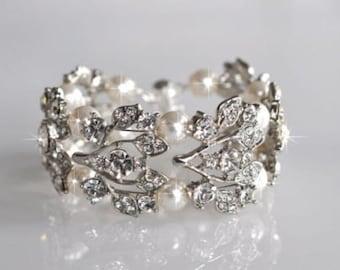 Handmade Vintage Inspired Crystal Rhinestone & Pearl Bridal Bracelet, Wedding (Sparkle-1090)