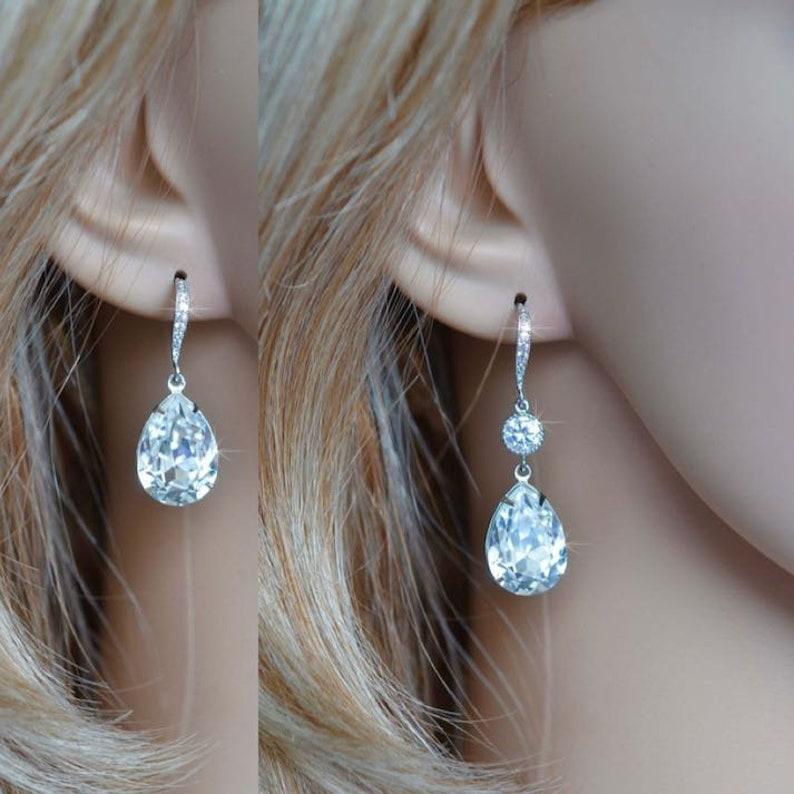 15edf0ce1 Handmade Swarovski Crystal Clear Pear Crystal Dangle Earrings | Etsy
