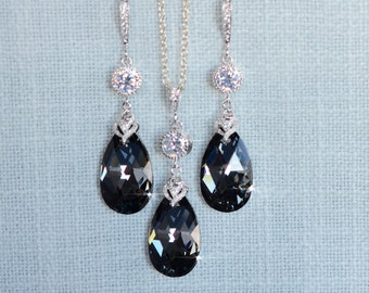 Handmade Swarovski Silver Night Crystal Necklace & Earrings Set (Sparkle-2695)