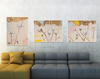 Set of 3 prints , Botanical art, Blush pink decor, Botanical print set, cotton artwork, cotton illustration #903BO #904BO #905BO