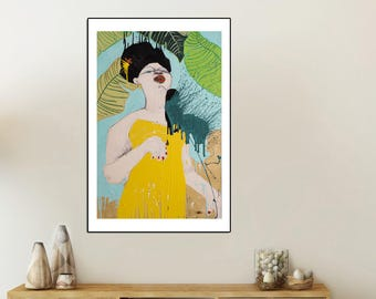Music print, Music wall art, Cuban art, Splash art, Music print, Music art, Music poster, Botanical print, Colorful Colors,  #704SO