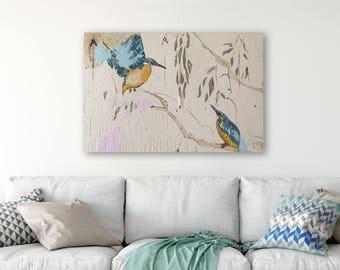 Kingfisher CANVAS Print, Kingfisher Art, Colorful animal art, Kingfisher Print, Kingfisher Painting, Two birds,  #564KF