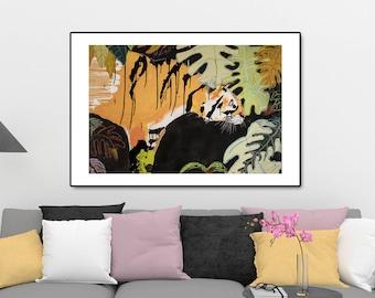 Tiger print, Jungle print,Botanical print ,Savannah Print, Tiger picture, Savannah art, Black and White Wall art #527T