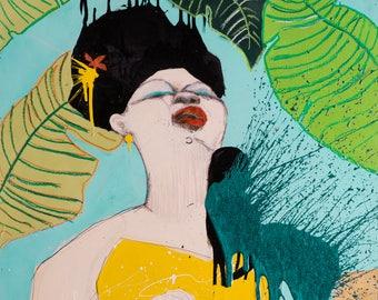 Music CANVAS Print, Woman on canvas, Splash art, Woman Musician, Splashing Colors, Wall Art, Unique Art, Music Lover Art #704SO