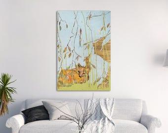 Fox Canvas Wall Art, Woodland nursery print, Woodland nursery wall art, Fox gift, Wildlife print, Wildlife Art, Woodland Print #532FX