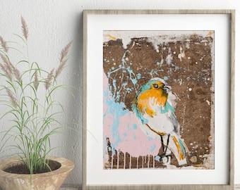 Bird original art print, colorful art print, Wall Décor, Wall Art, animal print, digital print, Songbird, Tropical Print, #540BD