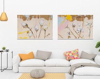 Set of 2 prints , Botanical art, Blush pink decor, Botanical print set, botanical poster, cotton artwork, cotton illustration #903BO #904BO