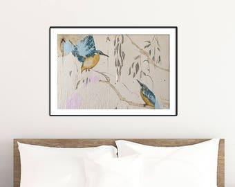 Kingfisher Print, Kingfisher Art, Kingfisher bird, Kingfisher Painting, Bedroom Decor, Blue bird #564KF