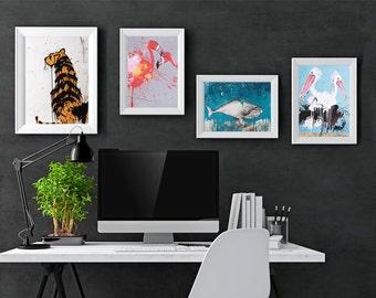 Gallery wall art, Colorful art print, set of 4, Wall decor,bedroom wall art, Living room art, Women gift