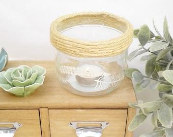 Photophore verre upcyling recyclé corde peint motif feuilles branchages couronne végétale blanc vide-poche décoration intérieure bohème