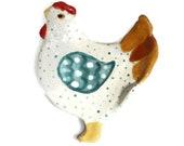 Chicken Ring Dish, Hand Painted Ceramic Hen Decorative Trinket Holder