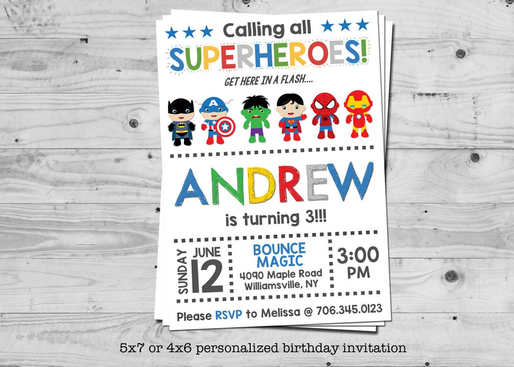 Superhero birthday invitation personalized with your | Etsy