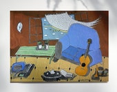 Blue sofa and guitar print, home decor, montseroldos_artworks, art / Sofa blau i guitarra