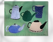 5 Teapots print, home decor, montseroldos_artworks, art / 5 teteres