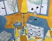 Gray sofa and chest of drawers print, home decor, montseroldos_artworks, art / Sofà gris i calaixera