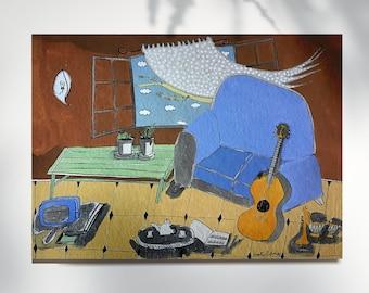 Blue sofa and guitar print, home decor, montseroldos_artworks, art / Sofa blau i guitarra