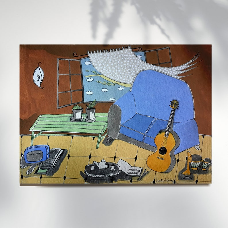 Blue sofa and guitar print home decor montseroldos_artworks image 0