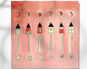7 houses with stairs to the moon print, home decor, artworks Montse Roldós / 7 cases amb escales a la lluna