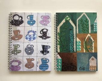 2 Notebooks. Notebooks, mugs and tiny houses, home decor, stationery, Montse Roldos artworks /Llibretes tasses i casetes.