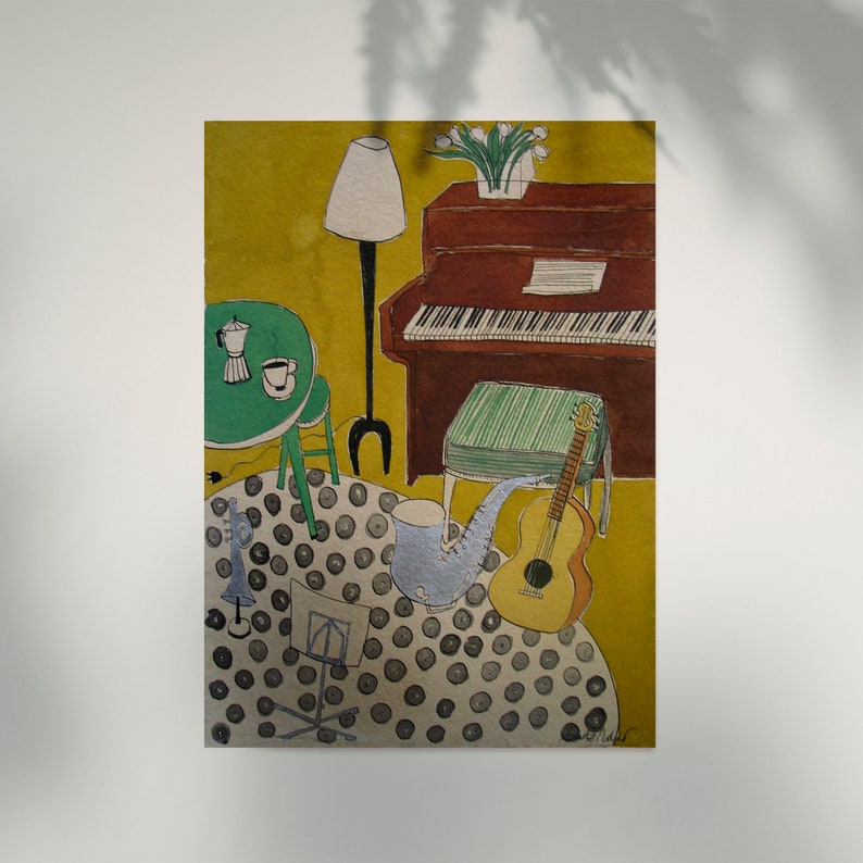 Piano and guitar print home decor montseroldos_artworks art image 1