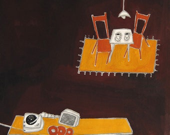Having coffee with music print home decor, montseroldos_artworks, art / Prenent un cafe amb música
