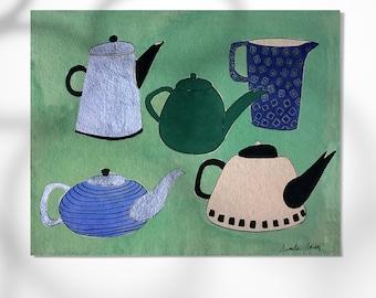 5 Teapots print, home decor, montseroldos_artworks, art / 5 teteres